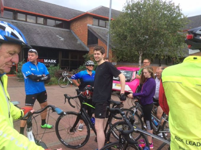 A happy band of cyclists at the end of our 28 mile challenging ride.