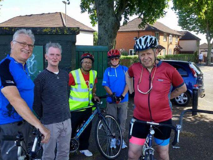"""Scene from today's Adrian Mole Sky Ride Local in Leicester. Sue Townsend's ex milkman from her days living in Highfields, Leicester in late 80s.  A pleasure to meet him at the """"Tick Tock"""" Park (Elston Fields) where he runs a tuck shop where you can buy Sherbet Lemons and Penny Chews."""
