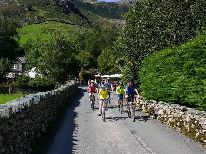 Sky Ride Local, 24th August on Lakeland lane with Langdale Pikes behind