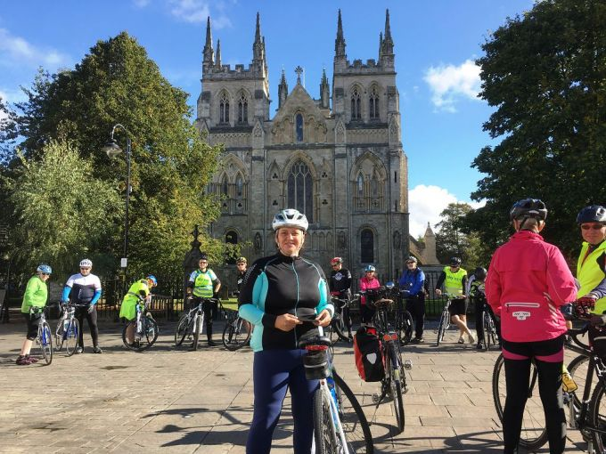 One of the participant outside Selby Abbey