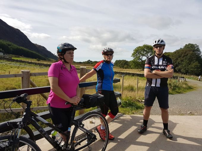 Karon, Colette And Micheal standing at Ennerdale Bridge.