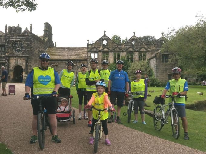 Group in front of the National Trust's East Riddlesden Hall after a pleasant ride along the towpath to 5 Rise Locks