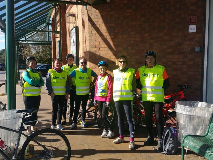 Happy cyclists in the sun - Half way on the Bolton Kingfisher trail