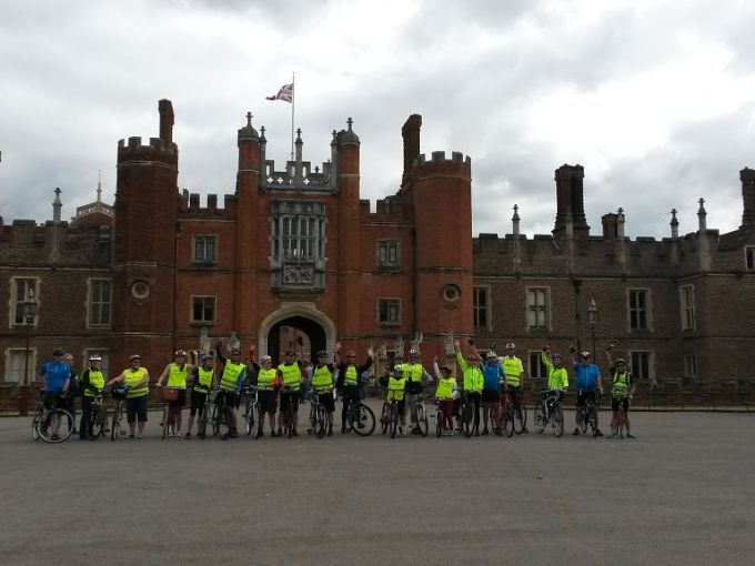 Passing by Hampton Court Palace and Park on the London Parks Royal Flush Cycle Ride :-)