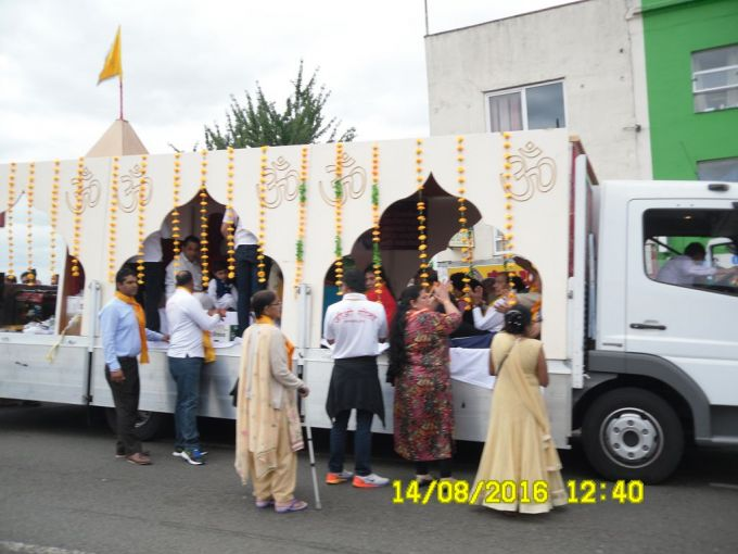 The hari khrishna float in Southall